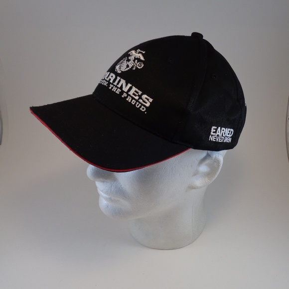 USMC Black Cap One Size Mens US Marines